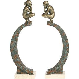 Angeles Anglada: 2-teilige Skulptur 'In Gedanken', Kunstguss Steinoptik