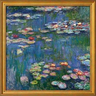 Claude Monet: Bild 'Seerosen' (1916), Version goldfarben gerahmt