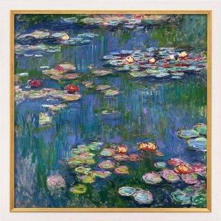 Claude Monet: Bild 'Seerosen' (1916), Version weiß-goldfarben gerahmt