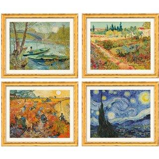 Vincent van Gogh: 4 Landschaftsbilder im Set, gerahmt