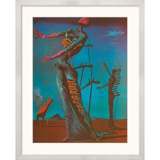 Salvador Dalí: Bild 'Die brennende Giraffe' (1935), gerahmt