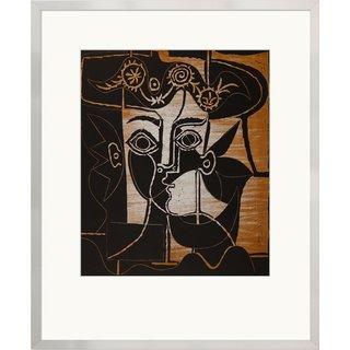 Pablo Picasso: Bild 'Großer Frauenkopf mit geschmücktem Hut', gerahmt