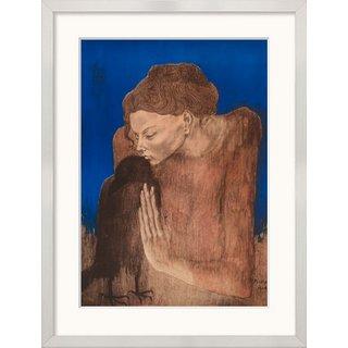 Pablo Picasso: Bild 'Die Frau mit dem Raben', gerahmt