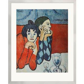 Pablo Picasso: Bild 'Harlekin und Gesellin', gerahmt