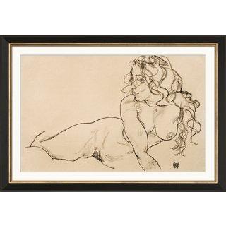 Egon Schiele: Bild 'Sich aufstützender weiblicher Akt mit langem Haar' (1918), gerahmt
