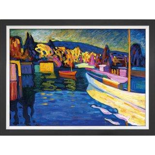 Wassily Kandinsky: Bild 'Herbstlandschaft mit Booten' (1908), gerahmt