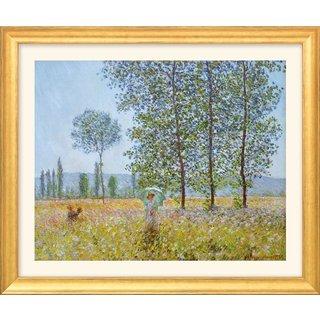 Claude Monet: Bild 'Felder im Frühling' (1887), Version goldfarben gerahmt