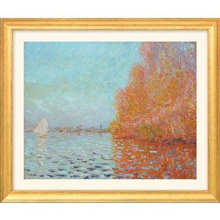 Claude Monet: Bild 'Die Bucht von Argenteuil mit einem Segelboot' (1874), Version goldfarben gerahmt