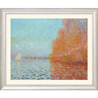 Claude Monet: Bild 'Die Bucht von Argenteuil mit einem Segelboot' (1874), Version silber gerahmt