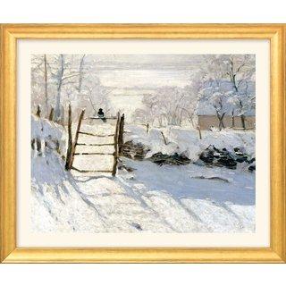 Claude Monet: Bild 'Die Elster' (1868/69), Version goldfarben gerahmt