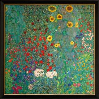 Gustav Klimt: Bild 'Bauerngarten mit Sonnenblumen' (um 1907), Version schwarz-goldfarben gerahmt