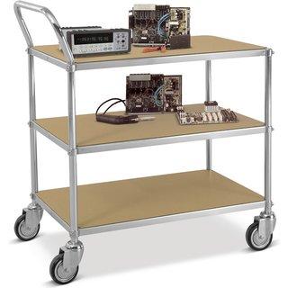 Aus stabilem Stahlrohr ist der ESD-Tischwagen ein echter Alleskönner Als ESD-Tischwagen mit Bügel is