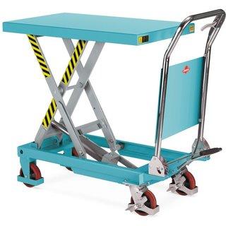 Der platzsparende Scheren-Hubtischwagen Ameise® mit klappbarem Bügel Der robuste Scheren-Hubtischwag