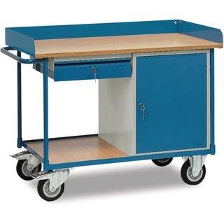 Beim Transport sicher durch Abrollrand und beim Lagern sicher abgeschlossen Dieser Werkstattwagen vo
