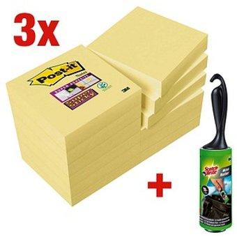 Post-it AKTION Post-it reg Super Sticky Notes Haftnotizen extrastark 62212SY gelb 36 Bl ouml cke GRATIS Scotch-Brite Mini-Kleider-Fusselroller