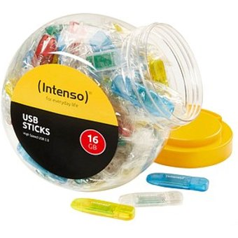 100 Intenso USB-Sticks Color Box rot, gelb, blau, gr uuml n, transparent 16 GB