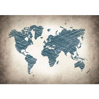 CONSALNET Vliestapete Graue Weltkarte, verschiedene Motivgrössen, für das Büro oder Wohnzimmer