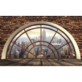 CONSALNET Vliestapete New York Fensterblick, verschiedene Motivgrössen, für das Büro oder Wohnzimmer