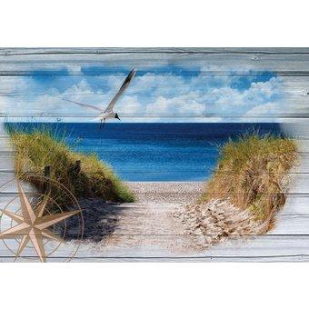 CONSALNET Vliestapete Strand auf den Bretter, verschiedene Motivgrössen, für das Büro oder Wohnzimmer