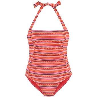 LASCANA Badeanzug Damen orange-bunt-gestreift Gr.46