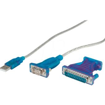 VALUE 12991160 USB Konverter, A Stecker auf RS232 DB25, 1,8 m
