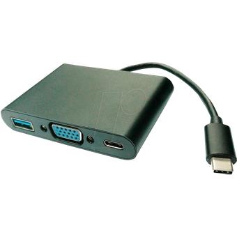 VALUE 12993201 Adapter USB-C VGA, USB-A, PD, schwarz, 0,10 m