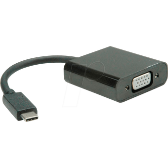 VALUE 12993203 Adapter USB-C VGA, 3,5mm Klinke, schwarz, 0,10 m