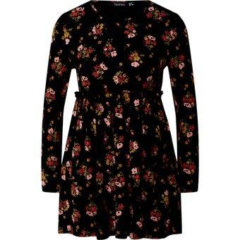 Boohoo Damen Kleider FLORAL PRINT SMOCK DRESS