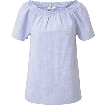 Tom Tailor Blusen Shirts Kurzarm-Bluse mit Carmen-Ausschnitt