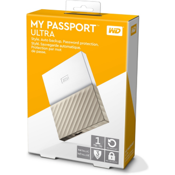 Western Digital WD My Passport Ultra USB3.0 1TB 2.5zoll -Weiss Gold WDBTLG0010BGD-WESN