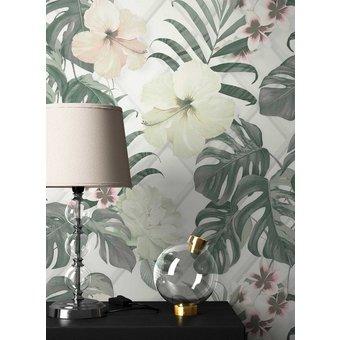 Newroom Vliestapete, Blumentapete Grün Weiss Palmen Wallpaper Floral Blumen Tapete Dschungel Pflanzen Wohnzimmer Schlafzimmer Büro Flur