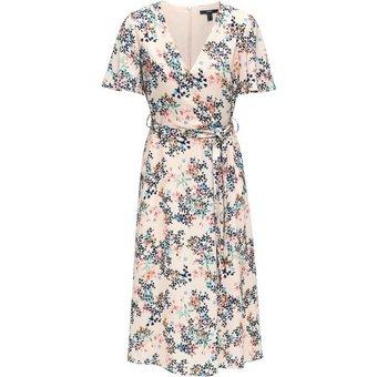 Esprit Collection Wickelkleid mit zarten Flügelärmeln und Blütenprint