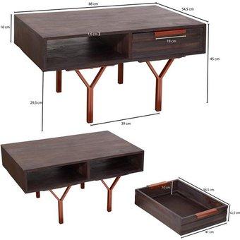 FINEBUY Couchtisch FB51414 , 88 x 45 x 54,5 cm Akazie grau Wohnzimmertisch Sofatisch Massivholz rechteckig Holztisch mit Stauraum Tisch Wohnzimmer massiv braun Kaffeetisch mit Schublade