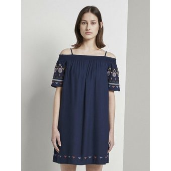 TOM TAILOR Denim Off-Shoulder-Kleid   Off-Shoulder Kleid mit Stickerei
