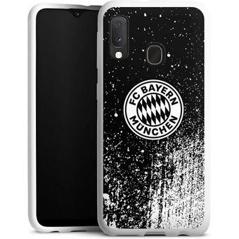 DeinDesign Handyhülle Splatter Schwarz FCB Samsung Galaxy A20e, Hülle FCB Offizielles Lizenzprodukt FC Bayern München