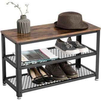 VASAGLE Schuhbank LBS73X , Schuhbank, Schuhschrank, Schuhregal zum Sitzen, Schuhablage mit 3 Ebenen, Metallrahmen, für Eingangsbereich, Diele, Wohnzimmer, Industrie-Design, Holzoptik, vintagebraun-schwarz