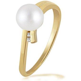 goldmaid Damenring Perle 375 Gelbgold 2 Diamanten 0,02 ct.