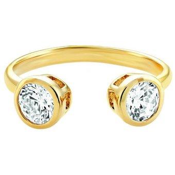 Buckley London Ring Messing vergoldet mit Zirkonia