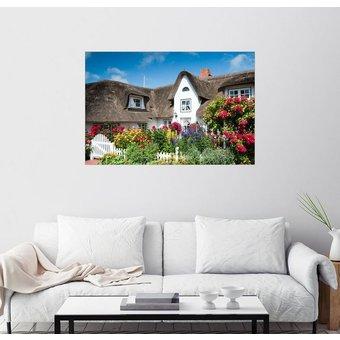 Posterlounge Wandbild Reiner Würz RWFotoArt Amrum Friesenhaus mit Blumengarten