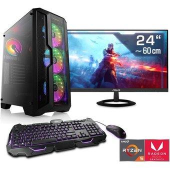 CSL HydroX T8510 Wasserkühlung PC-Komplettsystem 24 Zoll, AMD Ryzen 5, Radeon Vega 11, 16 GB RAM, 500 GB SSD