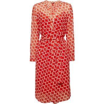 Esprit Collection Blusenkleid mit Bindegürtel und Blumen-Dessin