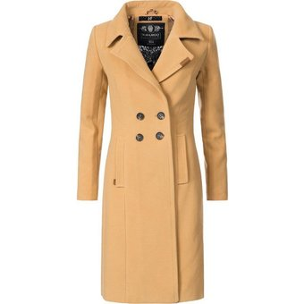 Navahoo Wintermantel Wooly edler Damen Trenchcoat in Wollmantel-Optik