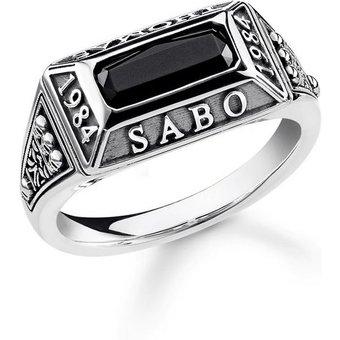 THOMAS SABO Silberring College Ring, TR2243-698-11-48, 50, 52, 54, 56, 58, 60, 62 , mit Onyx