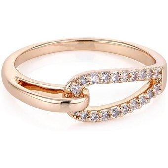Buckley London Ring Messing rotvergoldet Kristall