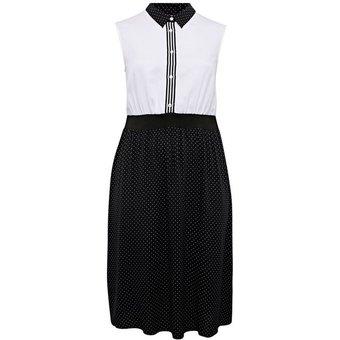 Sheego Blusenkleid mit Punktedruck an Blusenkragen und Rockteil