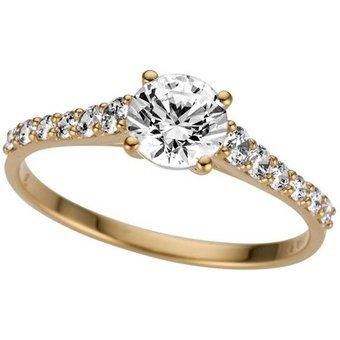 Firetti Goldring glamourös, glänzend, massiv, Gelbgold , mit Zirkonia
