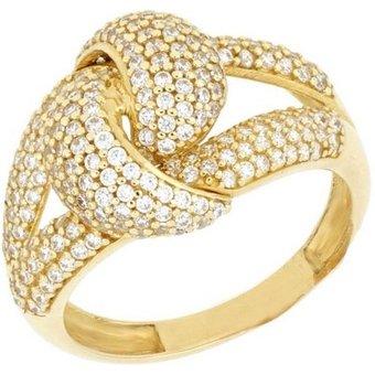 Firetti Goldring Knoten, glänzend , mit Zirkonia