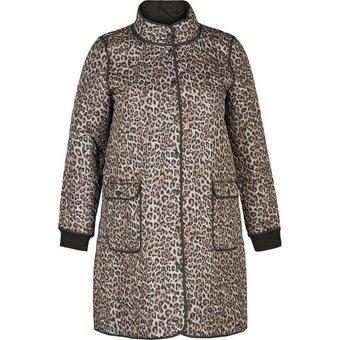 ZAY Outdoorjacke Damen Grosse Grössen Steppmantel Leopardmuster Warm Übergangsjacke