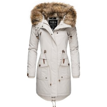 Navahoo Wintermantel Rosinchen stylischer Damen Winter Baumwollparka mit Kunstfell