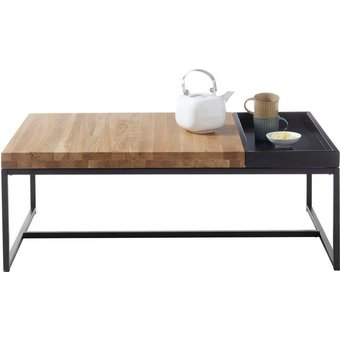 MCA furniture Couchtisch, Couchtisch Massivholz mit Tablett